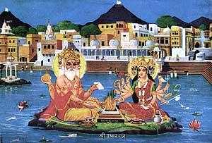Brahma bei einem Opfer auf dem See von Pushkar (Rajasthan)