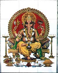 Lord Ganesha auf Badezimmerkacheln