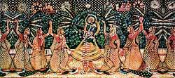 Krishna mit seinen geliebten Milchmädchen, den Gopis von Vrndavan